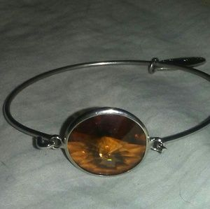 Plunder Faceted Brown Crystal Latch Bangle
